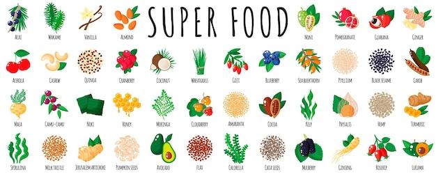 Grand ensemble de super aliments sains a. collection de nourriture de désintoxication antioxydante de vitamine naturelle. illustration isolée de dessin animé.