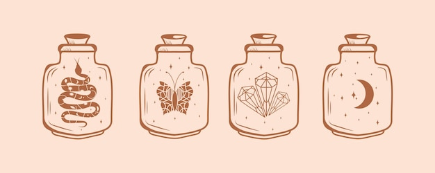 Grand ensemble de symboles magiques et sorcières avec papillons en cristal étoiles lune serpent bouteille en cristal magique