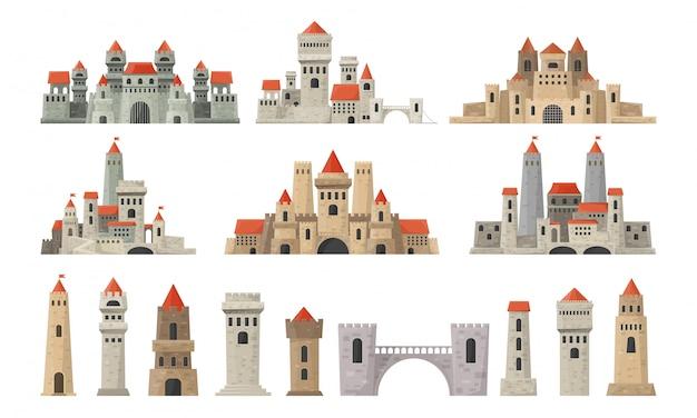 Grand ensemble de tours de château.