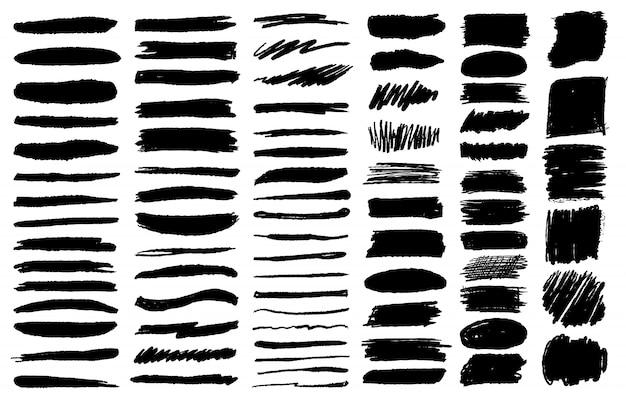 Grand Ensemble De Traits De Crayon Pinceau Grunge à L'encre Noire Vecteur Premium