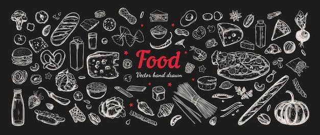 Grand ensemble de vecteurs d'ingrédients alimentaires.