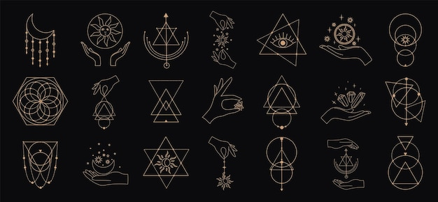 Grand ensemble vectoriel de symboles magiques et astrologiques silhouettes de signes mystiques esthétique ésotérique