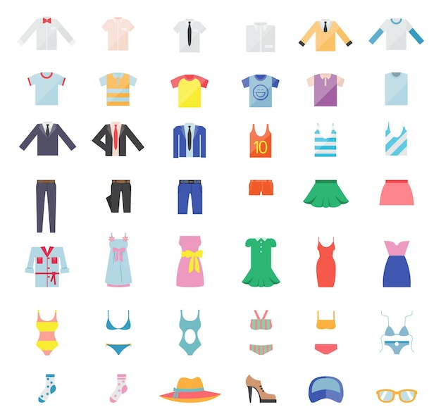 Grand ensemble de vêtements pour hommes et femmes. icônes de la mode. illustration vectorielle