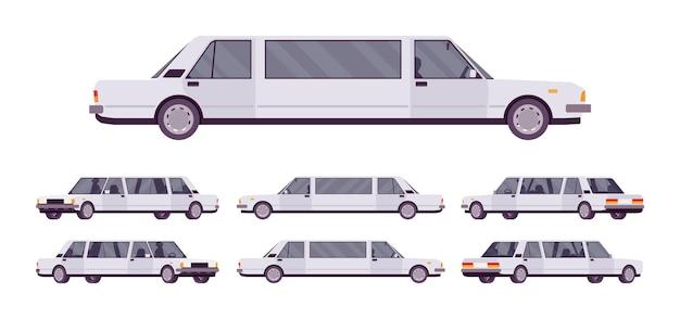 Grand ensemble de voitures de luxe limousine