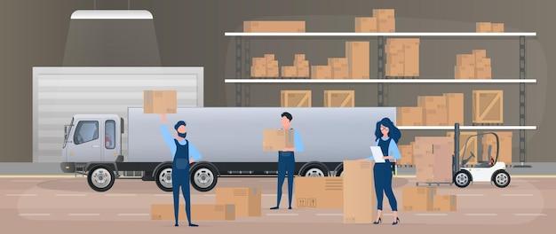 Grand entrepôt avec tiroirs. les déménageurs transportent des cartons. la fille avec la liste vérifie la disponibilité. gros camion. cartons. le concept de transport, de livraison et de logistique des marchandises. vecteur.