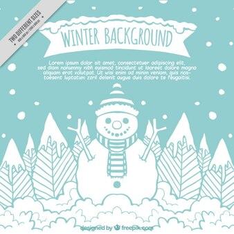Grand fond d'hiver avec bonhomme dessiné à la main