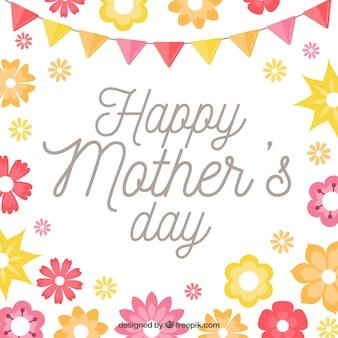 Grand fond de jour de mère avec guirlande et fleurs