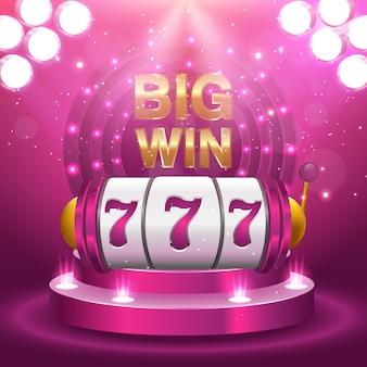 Grand gagnant 777 loterie vecteur concept de casino avec une machine à sous