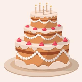 Grand gâteau enduit de crème de vecteur de dessin animé avec des bougies.