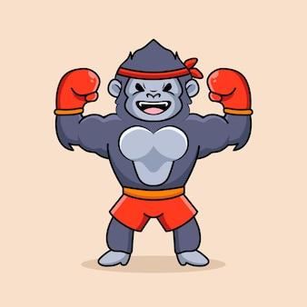 Le grand gorille de boxe fort porte des gants de boxe