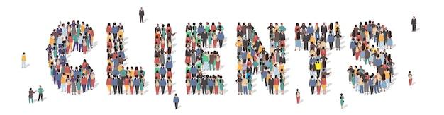 Grand groupe de personnes debout ensemble formant des clients mot illustration vectorielle plate service client...