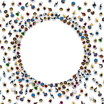 Grand groupe de personnes en forme de cercle. illustration vectorielle