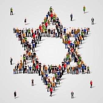 Grand groupe de personnes en forme d'étoile de david