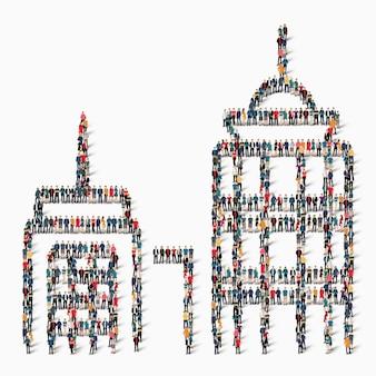 Un grand groupe de personnes sous forme de bâtiment