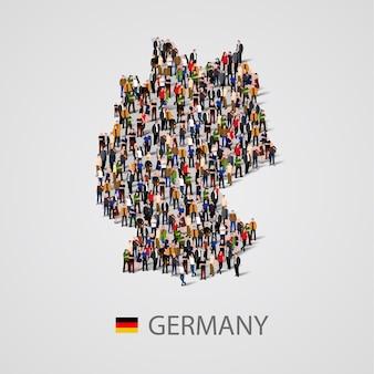 Grand groupe de personnes sous forme de carte de l'allemagne. population de l'allemagne ou modèle démographique.