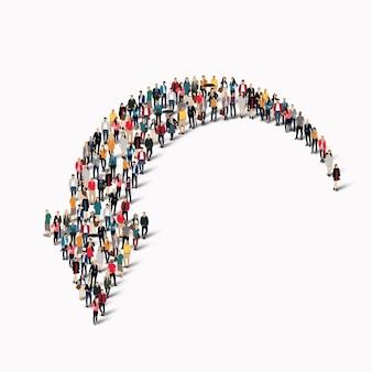 Un grand groupe de personnes sous la forme d'une flèche.
