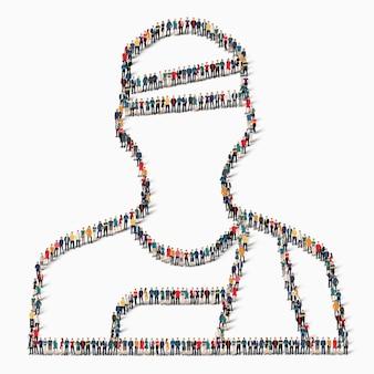 Un grand groupe de personnes sous la forme de patient, médecine, icône.