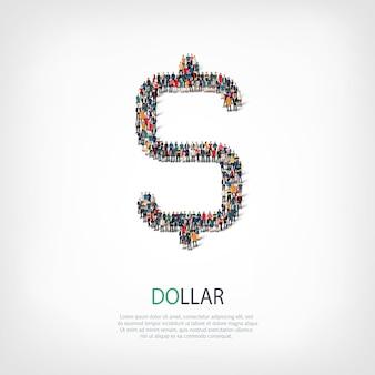 Un grand groupe de personnes sous la forme de signe dollar. illustration.