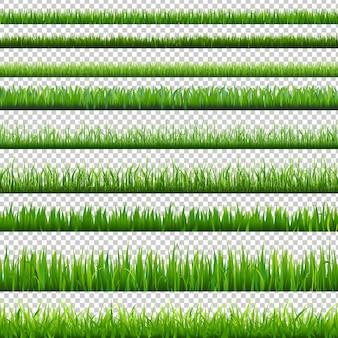 Grand jeu de bordures vertes isolé sur fond transparent avec illustration de filet de dégradé