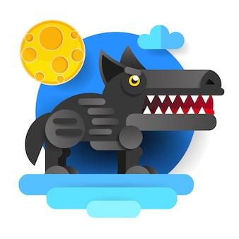 Grand méchant loup de dessin animé.