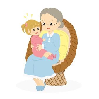 Grand-mère assise avec son vecteur de petite-fille