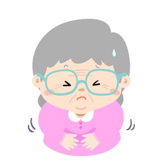 Grand-mère ayant mal au ventre