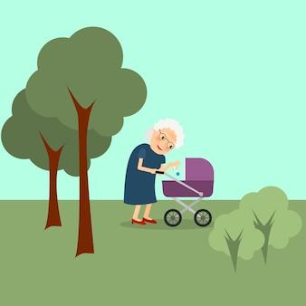 Grand-mère avec bébé poussette