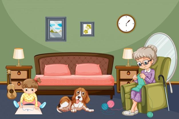 Grand-mère avec enfant et chien dans chambre