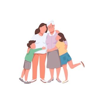 Grand-mère avec enfants personnages sans visage de couleur plate