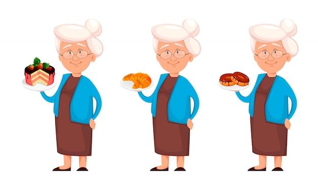 Grand-mère, ensemble de trois poses
