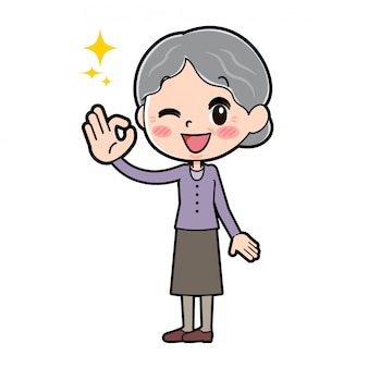 Grand-mère fait signe ok
