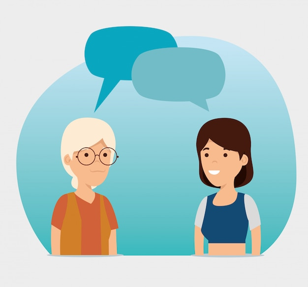 Grand-mère et fille avec message de bulles de discussion