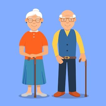 Grand-mère et grand-père cartoon.granny family character.