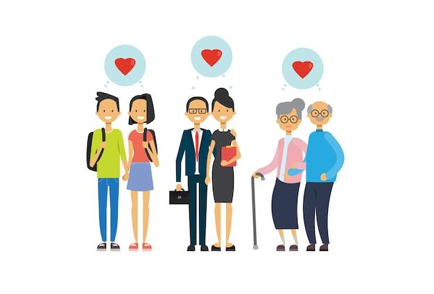 Grand-mère et grand-père, couple de parents et adolescents amoureux, famille multi-générations