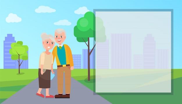 Grand-mère et grand-père vector dans le parc de la ville