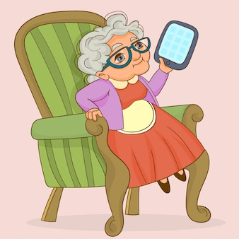 Une grand-mère intelligente utilisant une tablette