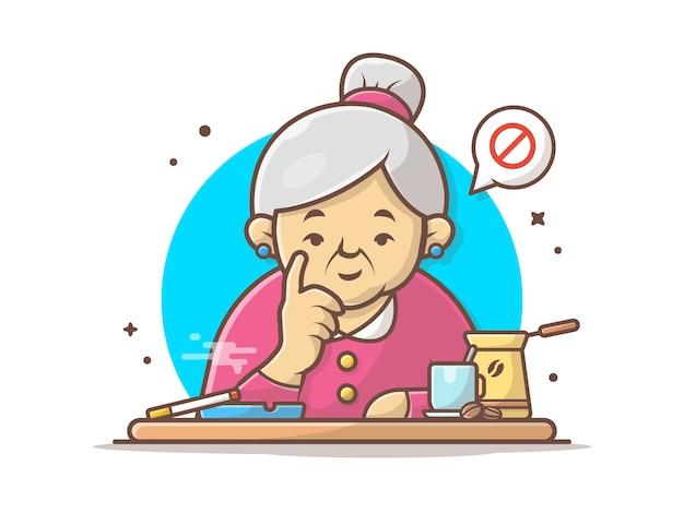 Grand-mère, interdit, fumer, icône, illustration