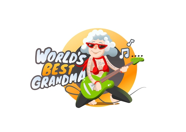 Grand-mère joue de la guitare