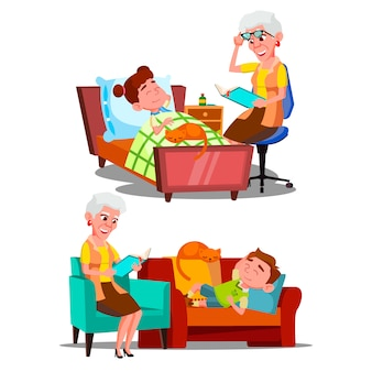 Grand-mère lisant un livre d'histoires nocturnes