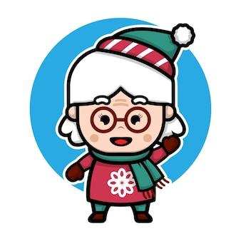 Grand-mère mignonne avec illustration de concept de noël de vecteur de dessin animé de costume d'hiver