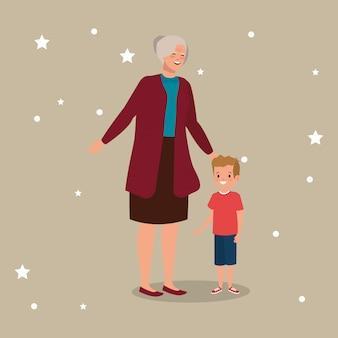 Grand-mère avec personnage avatar petit-fils