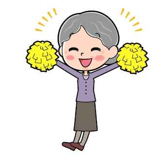 Grand-mère de personnage de dessin animé, bravo les mains vers le haut