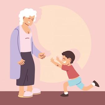 Grand-mère avec petit-fils, bonne fête des grands-parents