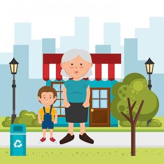 Grand-mère avec petit-fils dans la rue