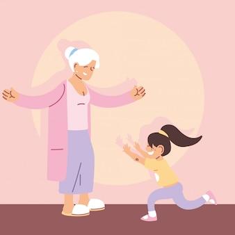 Grand-mère avec petite-fille, bonne fête des grands-parents