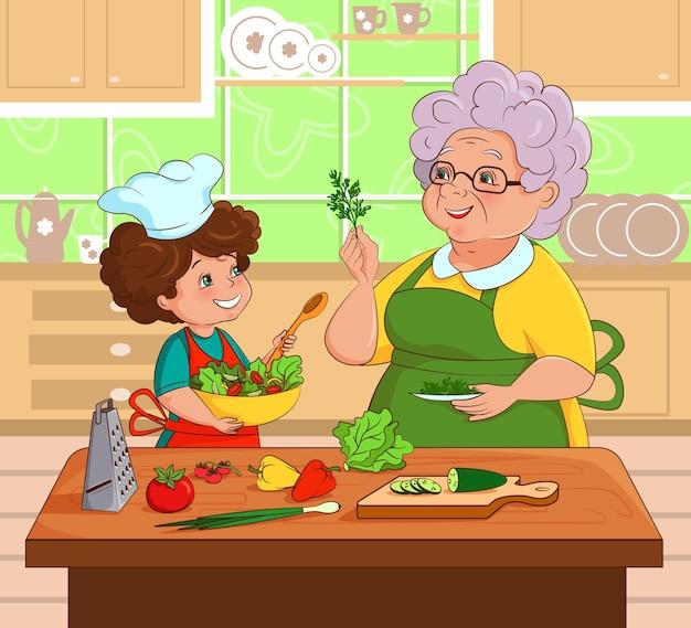 Grand-mère et petite-fille préparent la salade ensemble dans la cuisine vector illustration cartoon