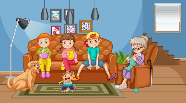 Grand-mère avec petits-enfants dans la scène du salon