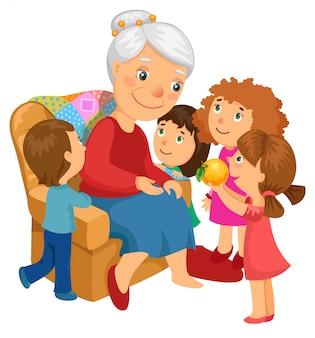 Grand-mère avec petits-enfants.