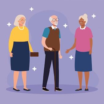 Grand-mères et grand-père avatars vector design