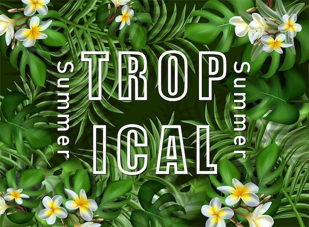 Grand modèle de bannière de vente d'été tropical avec des feuilles tropicales
